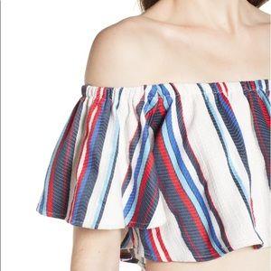 Lost + wander Azul Stripe Off Shoulder Crop Top